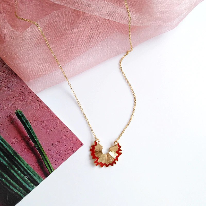 Fashion Alloy Geometry Pencil Scraps Red Chain Pendant 1