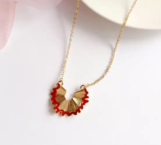 Fashion Alloy Geometry Pencil Scraps Red Chain Pendant 2