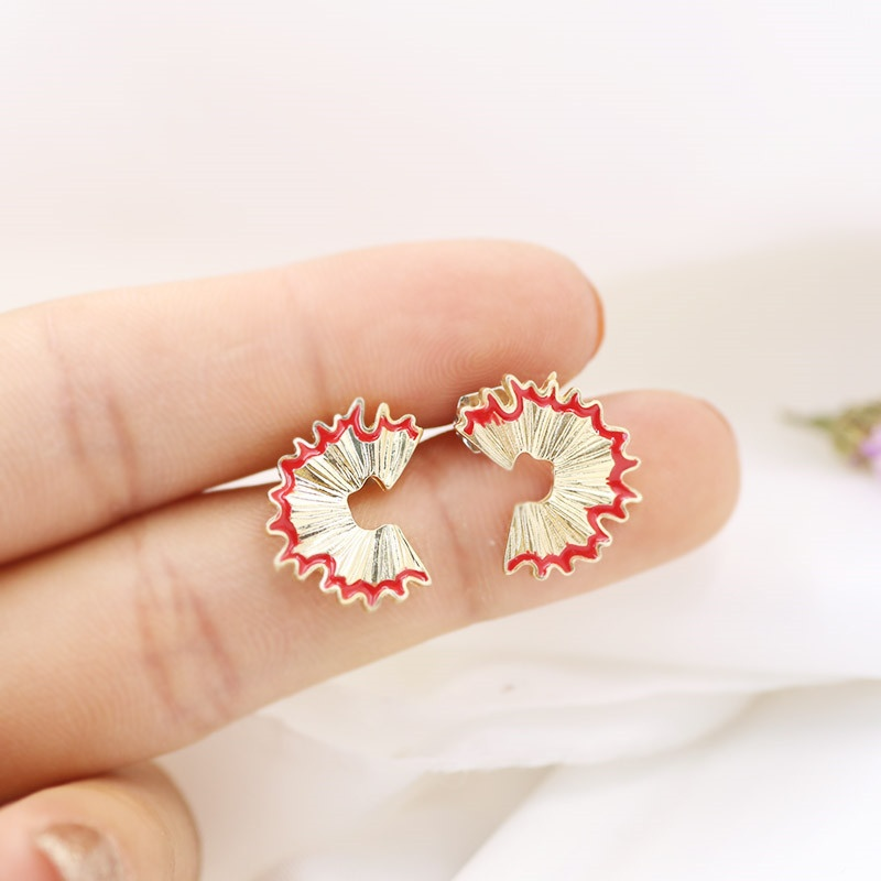 Gemsfly Alloy Geometry Pencil Scraps Red Stud Earrings 1