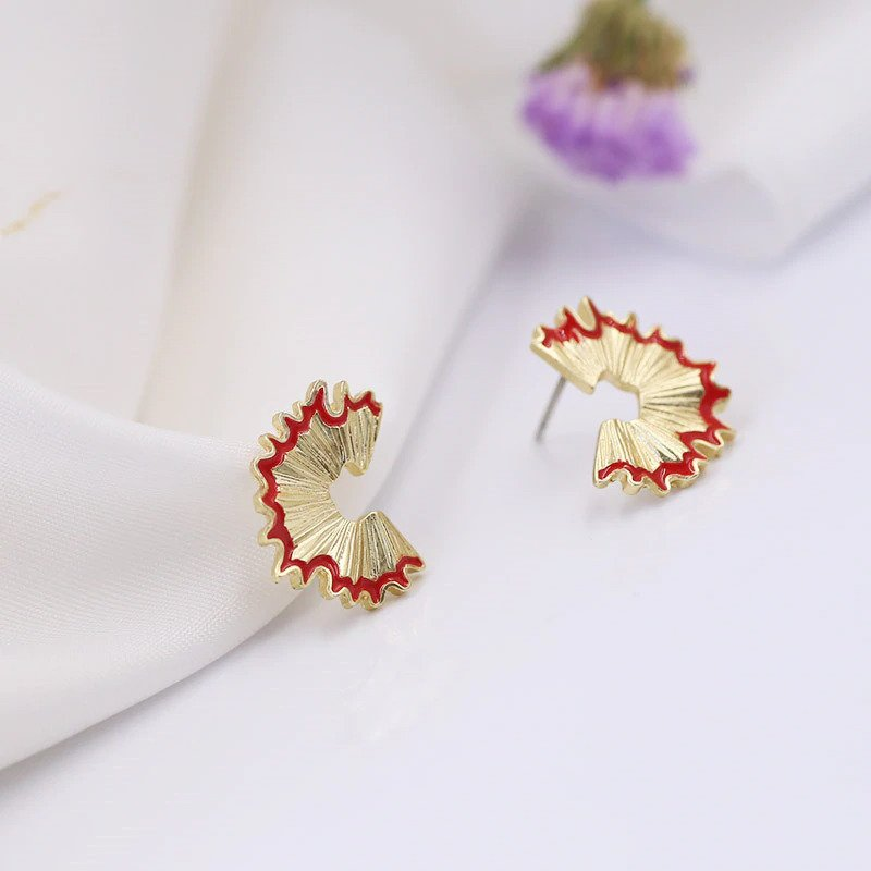 Gemsfly Alloy Geometry Pencil Scraps Red Stud Earrings 2