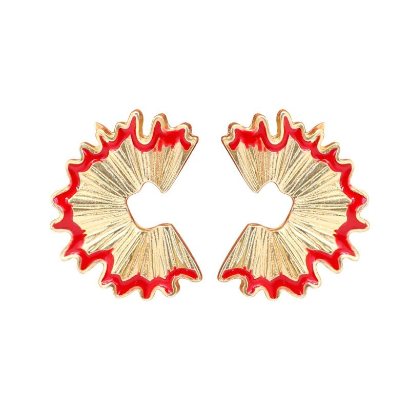 Gemsfly Alloy Geometry Pencil Scraps Red Stud Earrings 4