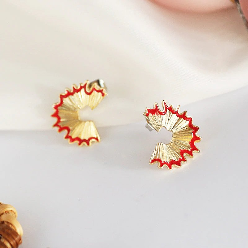 Gemsfly Alloy Geometry Pencil Scraps Red Stud Earrings 6