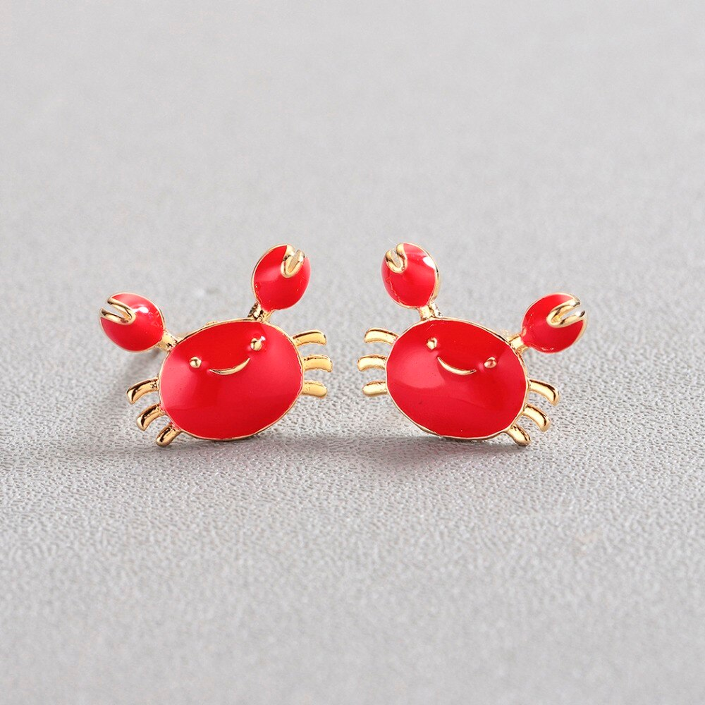 Gemsfly Copper Crab Red Gold Fashion Earring 1