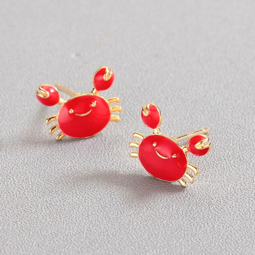 Gemsfly Copper Crab Red Gold Fashion Earring 2