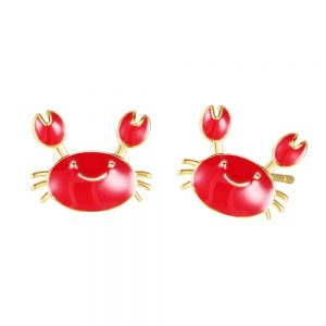 Gemsfly Copper Crab Red Gold Fashion Earring 3