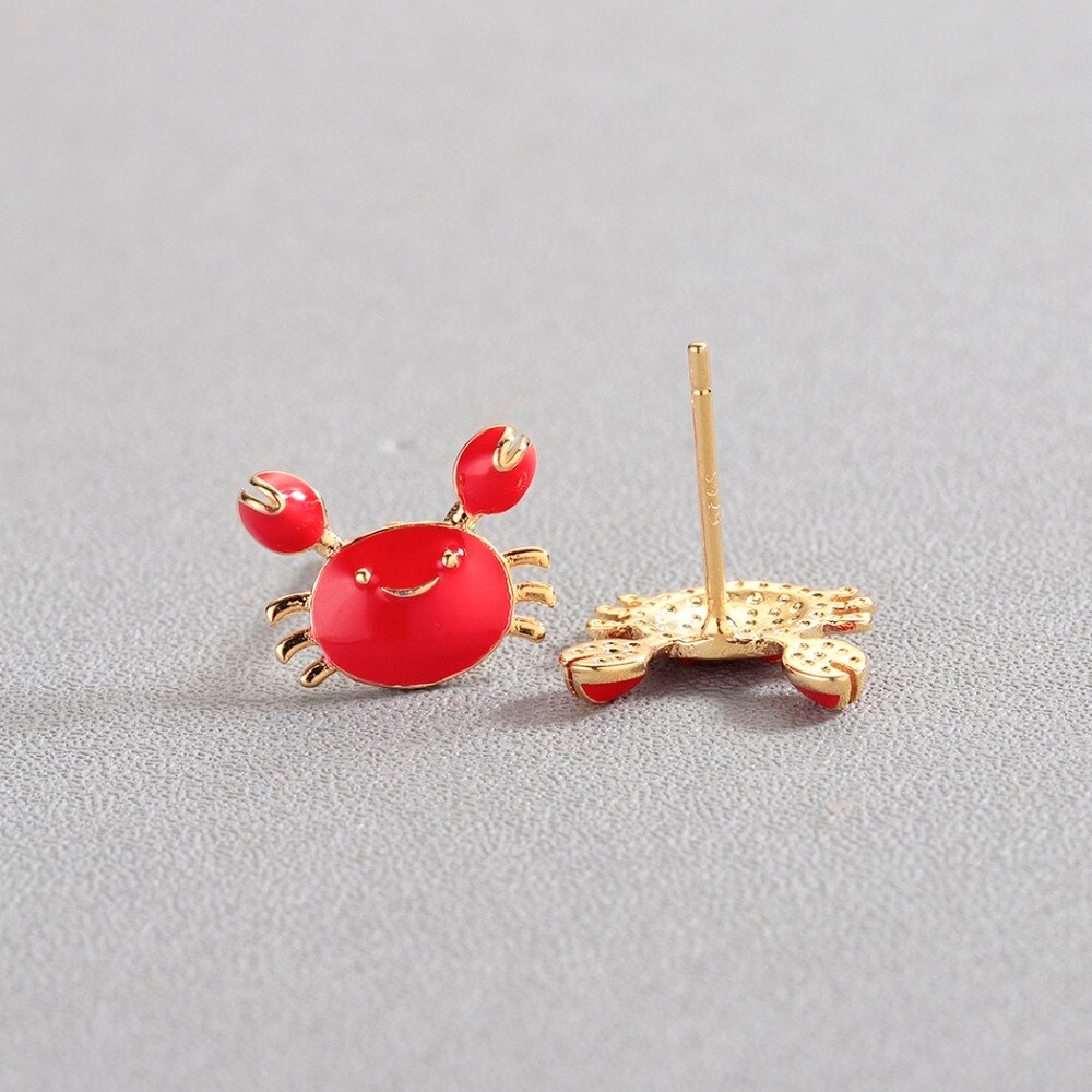 Gemsfly Copper Crab Red Gold Fashion Earring View