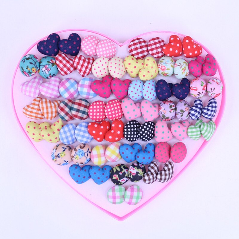 Gemsfly Cotton Heart Round Multi Stud Earrings 36 Pairs 3