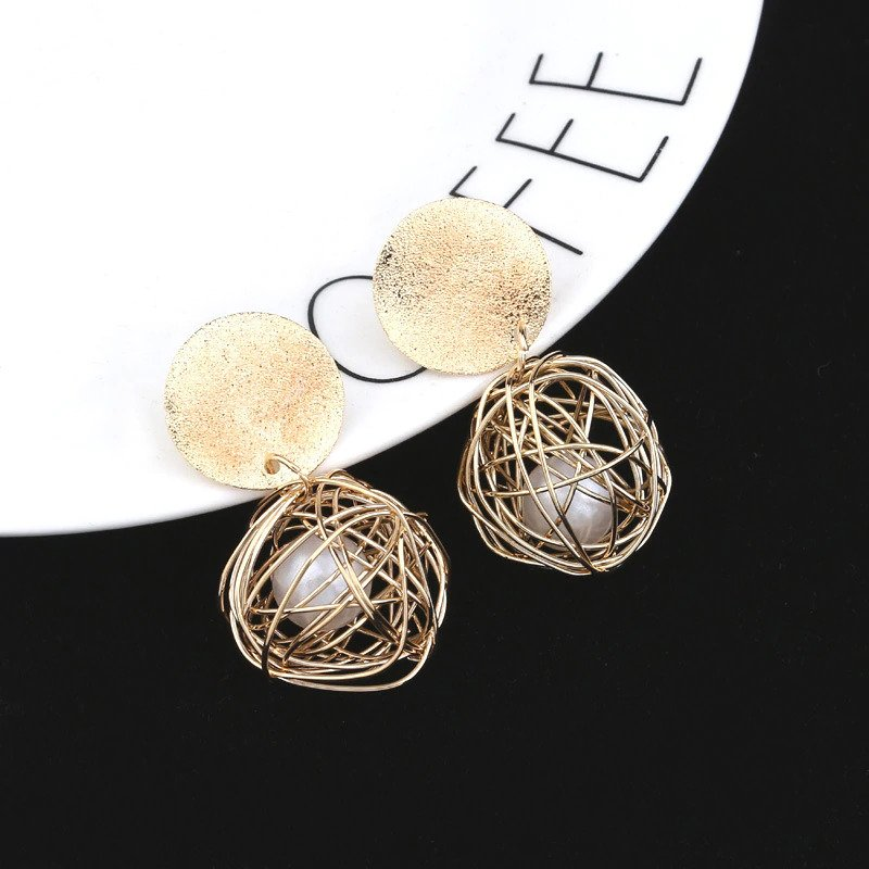 Geometric Ball Gold Hanging Dangle Earrings For Women