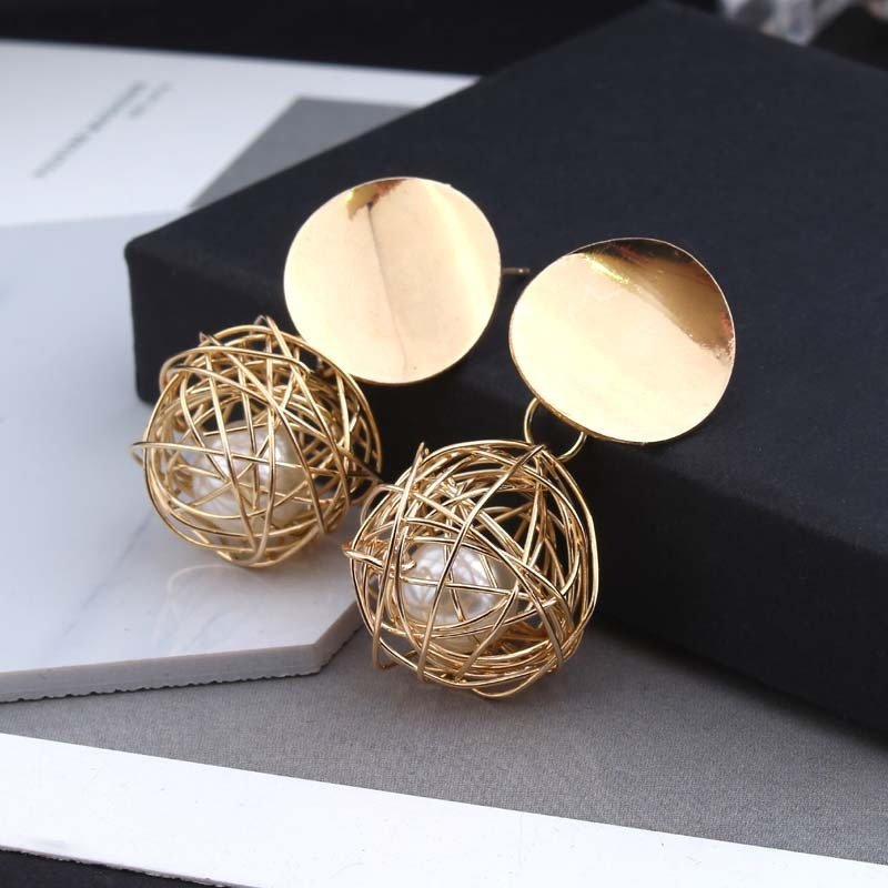 Sai Fashions Geometric Ball Gold Hanging Dangle Earrings For Women 1