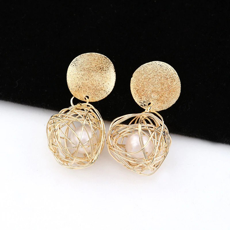 Sai Fashions Geometric Ball Gold Hanging Dangle Earrings For Women