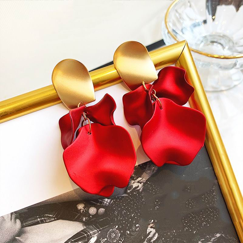 Sexy Earrings Red Flower Petal Earrings For Women 2020