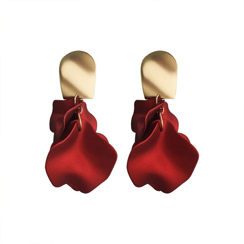 Hot Sexy Earrings Red Flower Petal Earrings For Women 2020