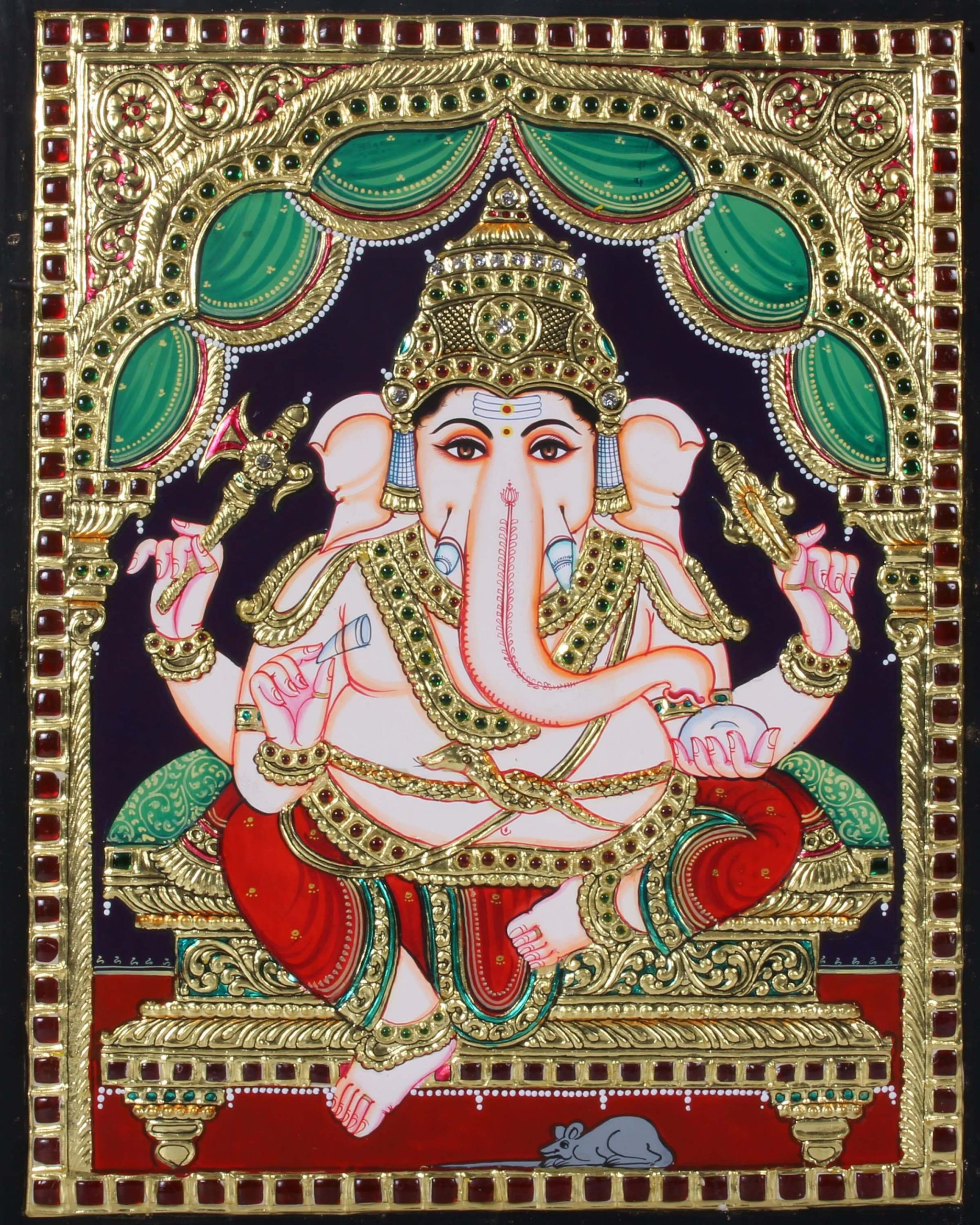 Red Dhoti Lord Ganesha Tanjore Painting with Snake