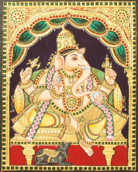 Lord Ganesha Antique Side Face Tanjore Painting