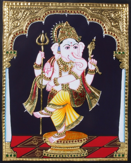 Lord Ganesha Standing With Trisoolam Tanjore Painting